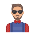Hipster icon in cartoon style isolated on white vector image