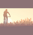 horizontal cyclist rides in big city at sunset vector image