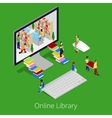 Isometric Online Library People Reading Books vector image vector image