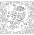 jellyfish in zentangle inspired style on white vector image vector image