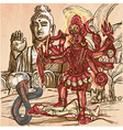 Kali God An hand drawn picture Line art vector image