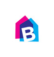 letter b house home overlapping color logo icon vector image vector image