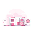 lovely cottage - modern thin line design style vector image