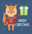 merry christmas celebration cute squirrel vector image vector image