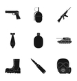 Military and army set icons in black style Big vector image vector image