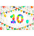number ten made up from colorful balloons on white vector image