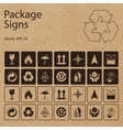 package symbols on craft paper background vector image vector image