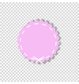pale pink circle seal stamp with white lace vector image