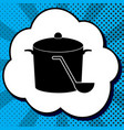pan with steam sign black icon in bubble vector image vector image