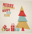 retro christmas card with christmas tree and gifts vector image vector image