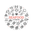 seafood round design template contour lines icon vector image