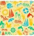 seamless pattern of colored summer icons vector image vector image