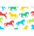 seamless pattern with colorful horses silhouettes vector image vector image