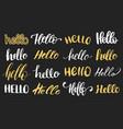 set of handwritten phrase hello calligraphy vector image vector image