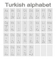 set of monochrome icons with turkish alphabet vector image vector image