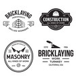 set vintage construction and bricklaying labels vector image