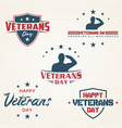 set vintage latter happy veterans day vector image