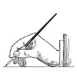 side view of position for lettering using pen vector image vector image