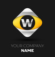 silver letter w logo in the silver-yellow square vector image