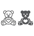 teddy bear line and glyph icon child and toy vector image vector image