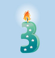 third birthday candle vector image