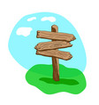 three arrow shapes cartoon wooden signpost vector image vector image
