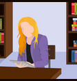 woman reading in tablet design vector image vector image