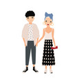 young man and woman dressed in elegant clothes vector image vector image