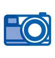 blue shading silhouette of photo camera in close vector image