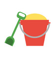 bucket filled with sand and shovel icon image vector image