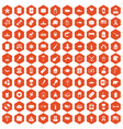 100 usa icons hexagon orange vector image vector image