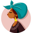 beautiful african woman profile wearing vector image