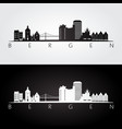 bergen skyline and landmarks silhouette vector image vector image