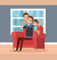 best father in the living room characters vector image vector image