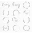 botanical drawn wreath and frame set vector image vector image