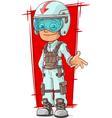 Cartoon racer in uniform with helmet vector image vector image