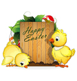 Chickens and painted Easter eggs vector image