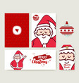 christmas santa claus cartoon holiday card set vector image