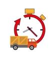 clock with arrow and truck van icon vector image vector image