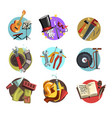 colorful icons with symbols of different vector image vector image