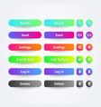 colorful web app buttons with symbols and text vector image vector image