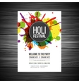 Colourful splashes Holi Festival poster vector image vector image