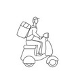courier on scooter deliver food linear vector image
