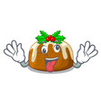 crazy christmas pudding isolated on the mascot vector image vector image
