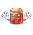 crazy strawberry jam glass isolated on cartoon vector image vector image