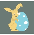 Cute bunny holding Easter Egg vector image vector image
