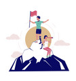 disabled people conquering mountain peak vector image vector image