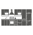 drawing kitchen interior plan icon vector image