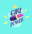 feminism slogan with hand drawn lettering girl vector image vector image