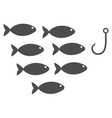 fish hook flat icon vector image vector image